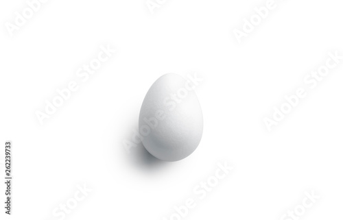 Foto Clear blank white easter egg mockup, front view, 3d rendering