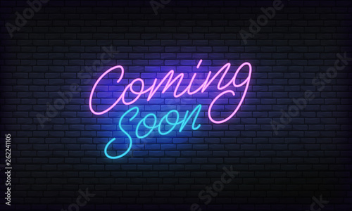 Photo Coming soon neon banner vector template