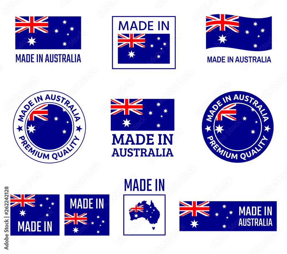 Fototapeta made in Australia labels set, made in Commonwealth of Australia product emblem