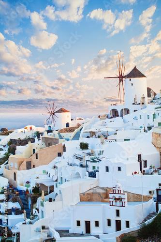 Fototapeta Beautiful landscape of Santorini island. Blue sky clouds and white village obraz