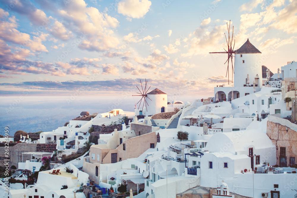Fototapeta Beautiful Santorini landscape, Greece landmark. Clouds sky and coastline