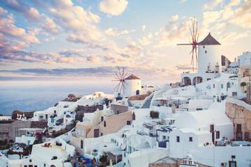 Beautiful Santorini landscape, Greece landmark. Clouds sky and coastline