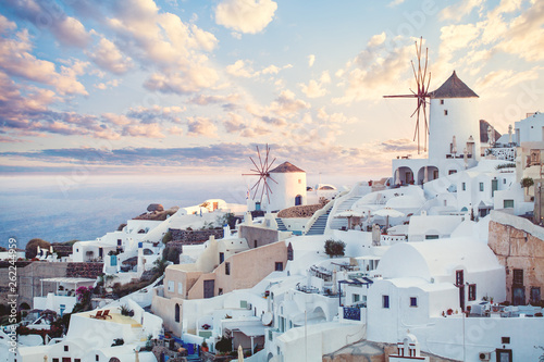 Poster de jardin Santorini Beautiful Santorini landscape, Greece landmark. Clouds sky and coastline