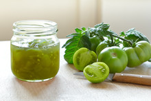 Jam Or Chutney In A Glass Jar Made Of Green Tomatoes, Home Canning Concept