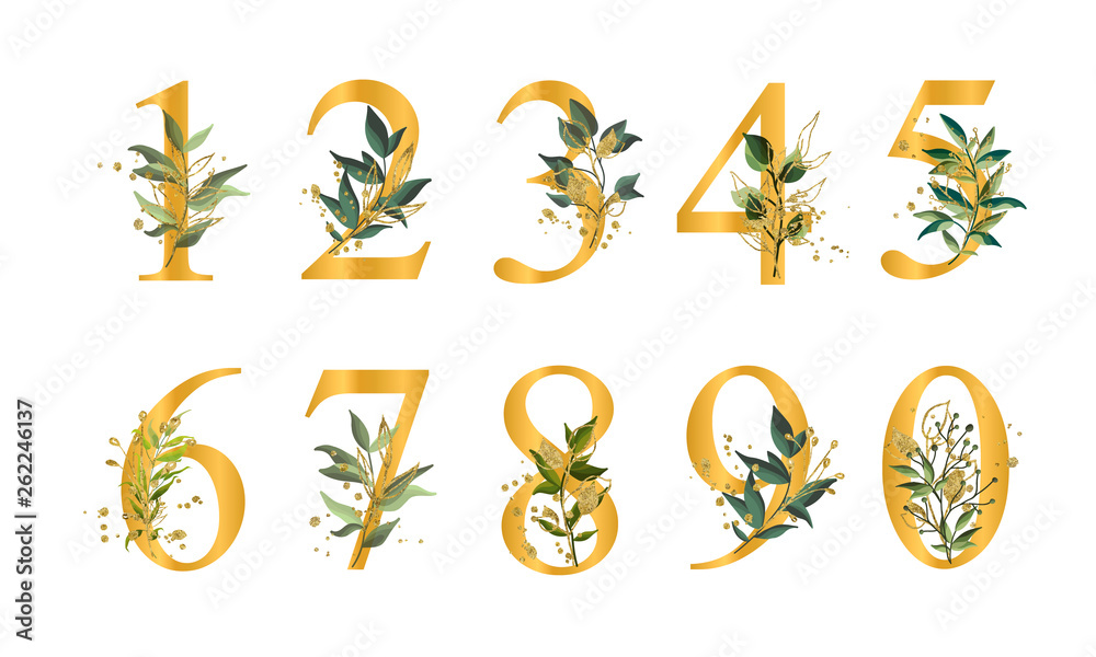 Fototapety, obrazy: Golden floral numbers with green leaves and gold splatters isolated
