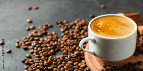 Canvas Prints Cafe coffee fresh and hot in a white cup, aroma. serving of beverage (coffee grain). food. top view. copy space