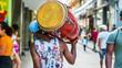 Leinwanddruck Bild - Havana, Cuba. Man walks down the street carrying his drum on his shoulder.