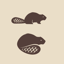 Beaver Animal Icon Vector Illu...