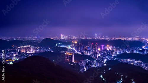 Poster Prune High view of Taiwan cityscape night light in Taipei 7