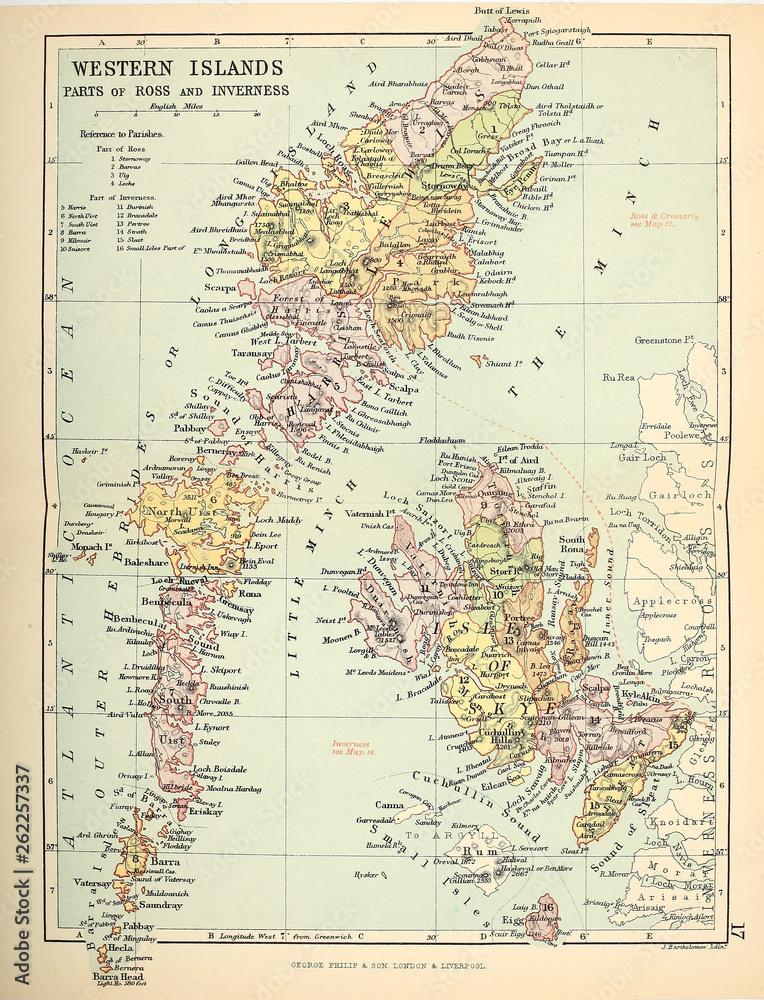 Obrazy na płótnie - Old map  Scotland, fototapeta na ścianę