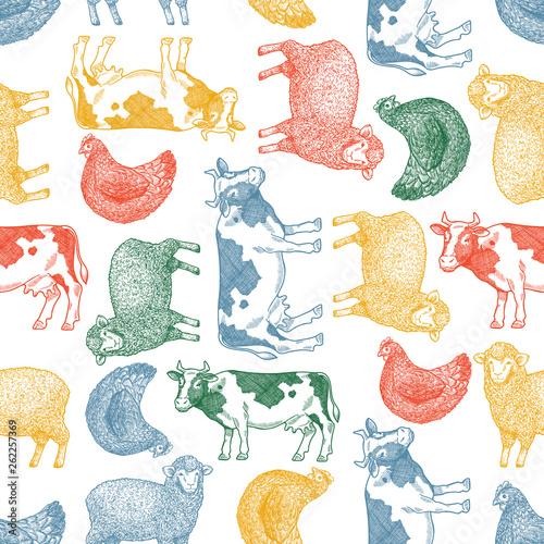 zabawa-zwierzat-gospodarskich-szwu-krowa-owce-kurczak-grawerowane-rocznika-ilustracji-ilustracji-wektorowych