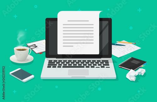 Fotografie, Obraz  Writer workplace and computer paper sheet vector illustration, flat cartoon 3d c