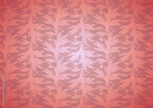 Fotografía  Coral background, royal, vintage with classic floral Baroque pattern, Rococo with darkened edges