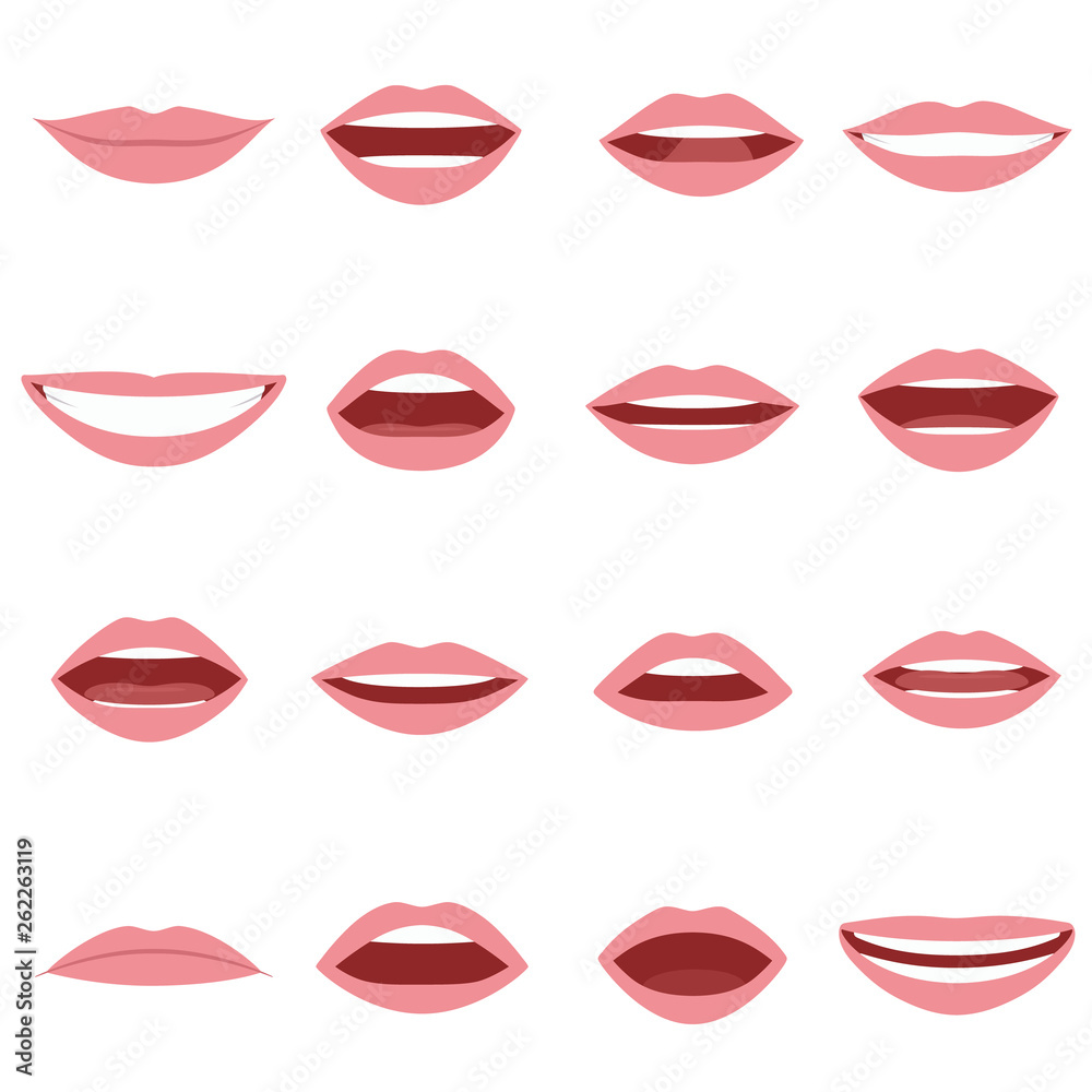 Fototapety, obrazy: Mouth animation set. Mouths pronounce letters. Lip movement. Various open mouth options with lips, tongue and teeth. Isolated vector illustration