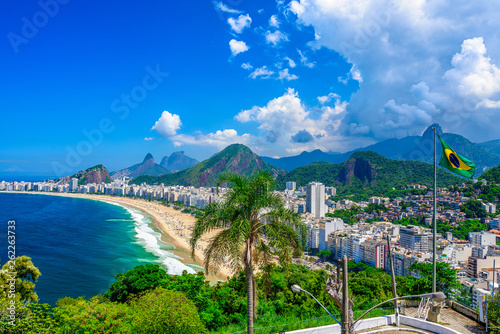 Printed kitchen splashbacks Rio de Janeiro Copacabana beach in Rio de Janeiro, Brazil. Copacabana beach is the most famous beach of Rio de Janeiro, Brazil. Skyline of Rio de Janeiro with flag of Brazil