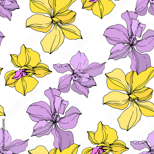 Tuinposter Vlinders Vector Orchid floral botanical flowers. Black and white engraved ink art. Seamless background pattern.
