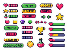 Pixel Game Buttons. Games UI, ...