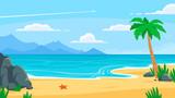 Lato na tle plaży. Piaszczyste wybrzeże, wybrzeże morza z palmą i powołanie nadmorskiej podróży wektor ilustracja kreskówka tło