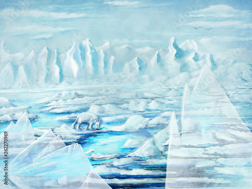 La pose en embrasure Fantastique Paysage Painting of an iceberg and icebear