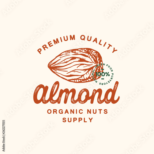 Canvas Print Premium Quality Almond Abstract Vector Sign, Symbol or Logo Template