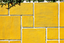 Detail Of A Rectangle Shaped Grid Design Of A Concrete Garden Wall Fence Painted In Bright Yellow. Green Plants Hanging From The Top Of The Wall.
