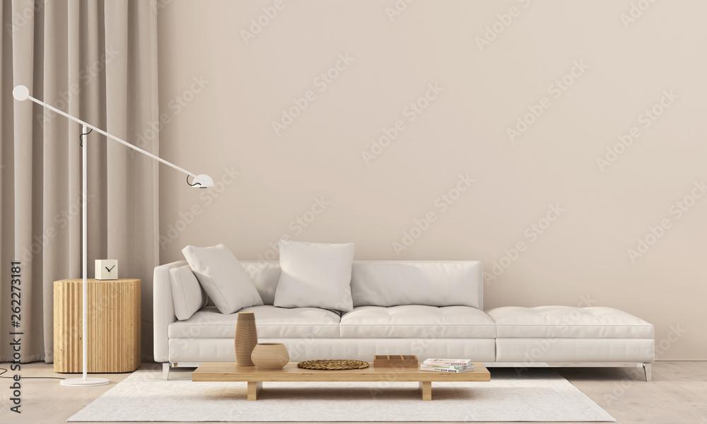 Fototapeta living room with a white sofa