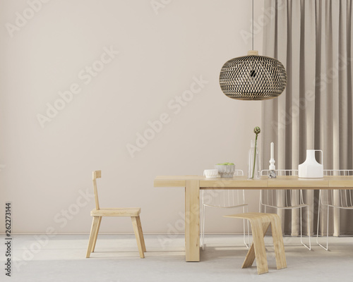 Fotomural  minimalistic dining room with wooden furniture