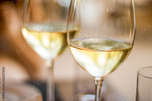 In de dag Alcohol French white wine in a restaurant in Paris, travel experience