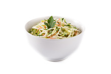 Coleslaw Salad In White Bowl I...