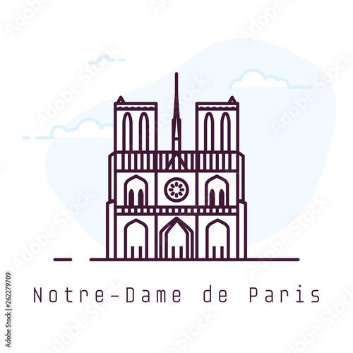 Fototapeta Notre-Dame de Paris city line style illustration