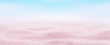 Marine Pink Sand Background. Beach Holiday Summertime. Panoramic Banner.