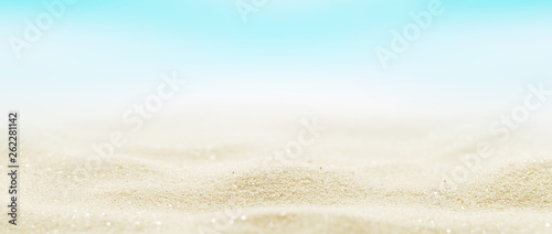 Foto auf AluDibond Licht blau Marine sand background. Beach holiday summertime. Panoramic banner.