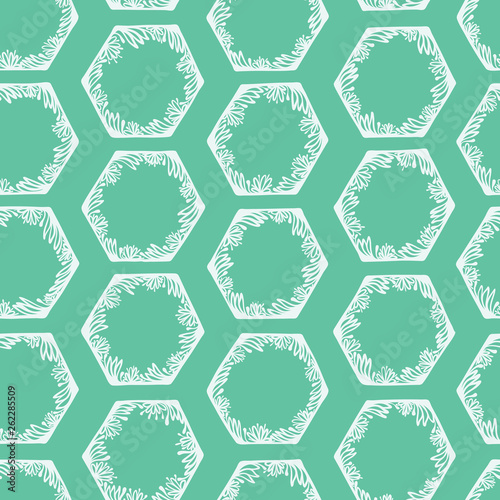 Hand Drawn Graphic Floral Hexagon Seamless Pattern Trendy