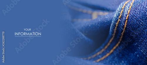 Canvastavla  Blue jeans fabric cloth material texture textile macro pattern blur background