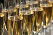 Many glasses of champagne, closeup. Festive drink