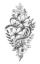 Hand Drawn Monochrome Snake Among  Flowers