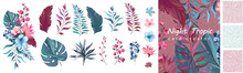 Set Exotic Leaves. Tropical Co...