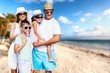 Beautiful Lovely family at sandy beach