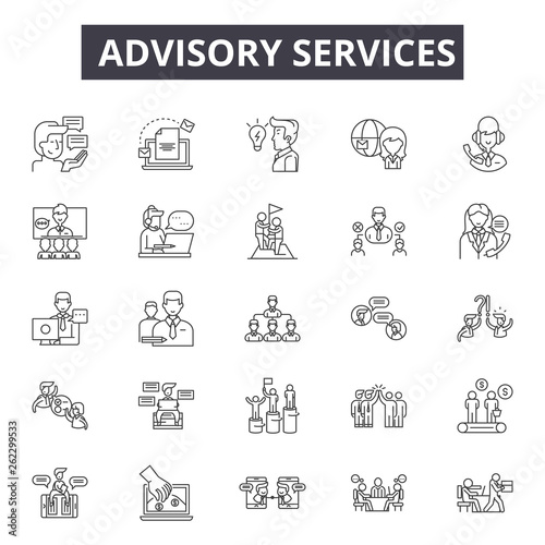 Advisory services line icons, signs set, vector Wallpaper Mural