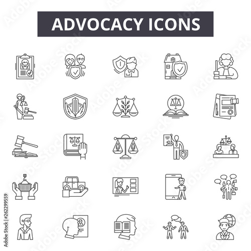 Advocacy line icons, signs set, vector Wallpaper Mural