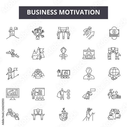 Fotografia  Business motivation line icons, signs set, vector