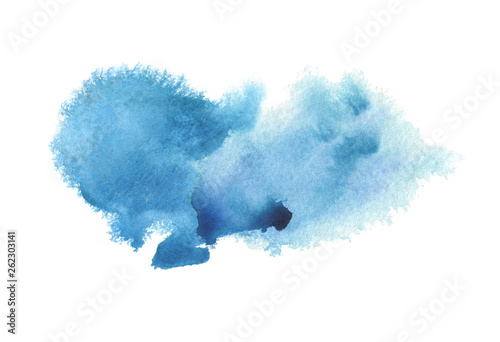 Abstract blue watercolor blot painted background. Isolated. Tableau sur Toile