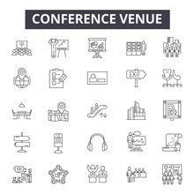 Conference Venue Line Icons, S...
