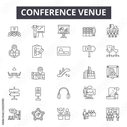 Canvastavla Conference venue line icons, signs set, vector