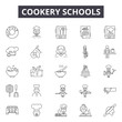 Cookery schools line icons, signs set, vector. Cookery schools outline concept illustration: chef,cookery,kitchen,food,cook,restaurant,cooking,logo
