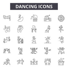 Dancing Line Icons, Signs Set, Vector. Dancing Outline Concept Illustration: Dance,silhouette,party,music,woman