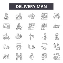 Delivery Man Line Icons, Signs...