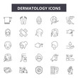Dermatology line icons, signs set, vector. Dermatology outline concept illustration: dermatology,care,skin,therapy,health,cosmetic,treatment,medical