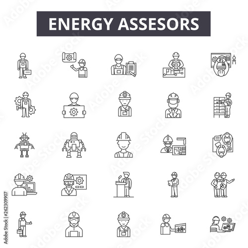 Energy assesors line icons, signs set, vector Canvas Print