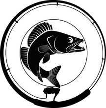 Fishing Badge With Fish And Fi...